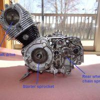 Left side, before the alternator and starter were installed